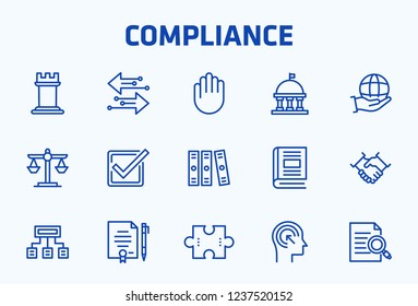 Compliance Thin Line Icon Set