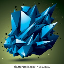 Complicated abstract colorful 3D shape, vector digital lattice object. Technology theme.