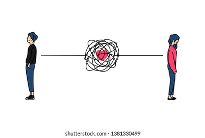 complicated couple love relationship problem doodle color drawing vector illustration. Standing boy and girl back to back with tangled messy scribble connection line.