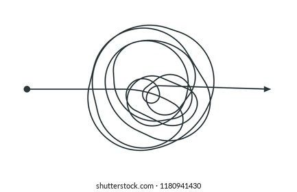 Complicated thinking process line icon design. Vector throught decision chaotic doodle circle drawing circles or thread clew knot isolated on white background