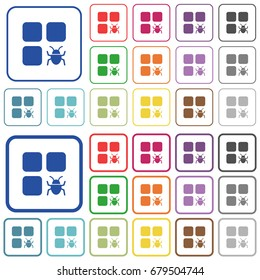 Component bug color flat icons in rounded square frames. Thin and thick versions included.