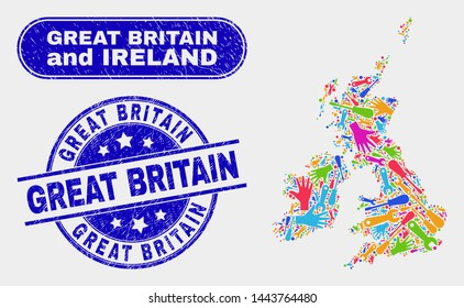 Component Great Britain and Ireland map and blue Great Britain distress seal stamp. Colored vector Great Britain and Ireland map mosaic of production items. Blue rounded Great Britain stamp.
