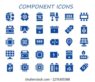 component icon set. 30 filled component icons. Simple modern icons about  - Battery, Cpu, Components, Ram, Empty battery, Diminish, Solar panel, Microchip