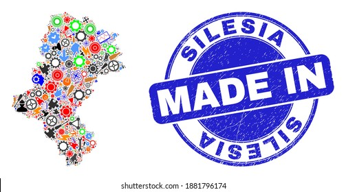 Component Silesian Voivodeship map mosaic and MADE IN distress stamp. Silesian Voivodeship map mosaic composed with spanners,cogs,screwdrivers,elements,cars,power strikes,rockets.