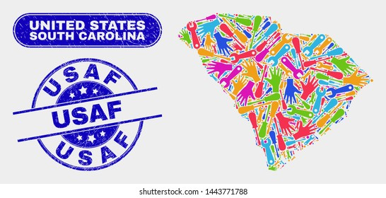Component South Carolina State map and blue USAF grunge seal. Colored vector South Carolina State map mosaic of engineering elements. Blue round USAF seal.