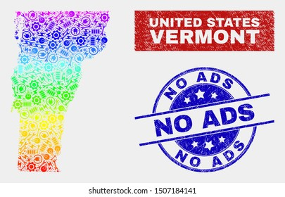 Component Vermont State map and blue No Ads textured seal. Spectrum gradient vector Vermont State map mosaic of machinery items. Blue rounded No Ads seal.
