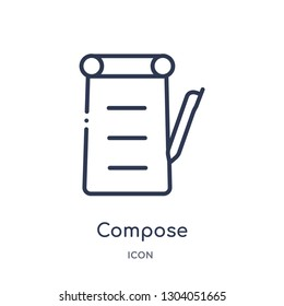 compose icon from user interface outline collection. Thin line compose icon isolated on white background.