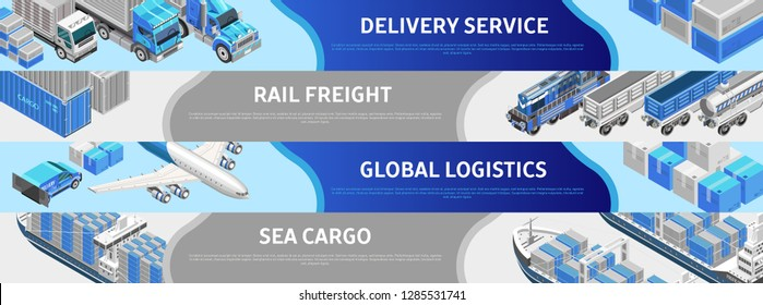 Composed isometric lines in webpage design presenting global logistics in various ways
