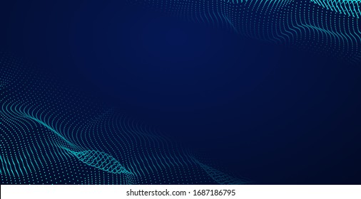 Composed of particles swirling abstract graphics.