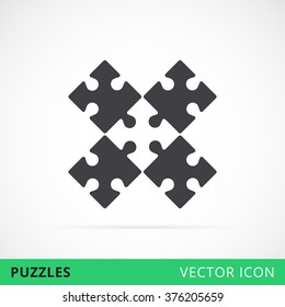 Composed puzzles vector icon, piled puzzles sign, puzzle shape vector icon, symbol of teamwork puzzle icon, black contour puzzle game silhouette, conundrum vector sign