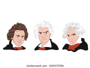 Composer Ludwig Van Beethoven. Vector Potrait