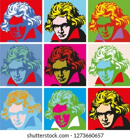 composer Ludwig van Beethoven. vector portrait pop-art