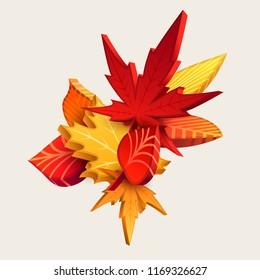 Composition of 3d autumn leaves