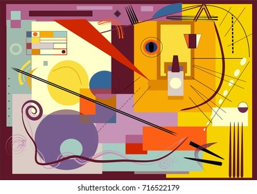 composition of abstract colorful shapes ,stylized cat ,on yellow background expressionism art style