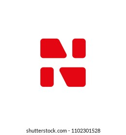 composition abstraction letter N fragments red color, editable vector