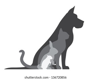 Composition of animal silhouettes: dog, cat, rabbit, hamster.