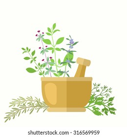 Composition with aromatic herbs and mortar. Dill, basil, oregano, hyssop, parsley, savory and rosemary for cooking or herbal medicine theme. Copy space. Vector file is EPS8.