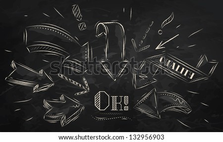 composition arrows pointing ok drawing chalk stock vector royalty