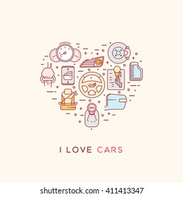 The composition of automotive icons. Set of vector icons of automotive topic. Icons arranged in the shape of heart. Automobile items. Thin line art design. I love cars