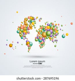 Composition of balloons World Map