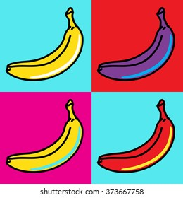 The composition of bananas in the style of Andy Warhol