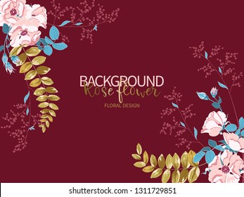 Composition of beautiful pink rose and gold tropical leaves on burgundy color. Vector floral background or greeting card