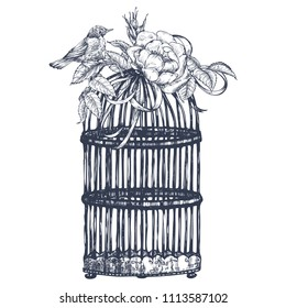 Composition with a bird, cage, leaves and a flower of a dogrose. Ink illustration by hand. Graphic arts. Vintage drawing for print to clothing, textiles, posters and other surface