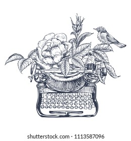 Composition with a bird, a typewriter, leaves and a flower of a dogrose. Ink illustration by hand. Graphic arts. Vintage drawing for print to clothing, textiles, posters and other surface