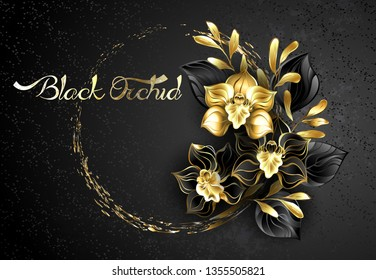 Composition of black jewelry orchids, with black and gold decorative leaves on textured background with drops of paint.