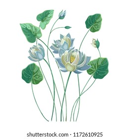 Composition of blue lotus flower with green leaves in hand drawn style pastel colors.Realistic vector lily, waterlily isolated on white background