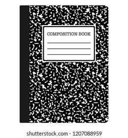 Composition Book - Black composition notebook with copy space isolated on white background
