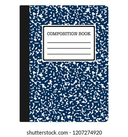 Composition Book - Navy blue composition notebook with copy space isolated on white background