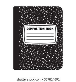Composition book template. Traditional school notebook vector illustration.