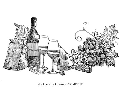 Composition of a bottle of wine, two glasses, parmesan cheese, grapes and leaves with olives. Hand drawn engraving style illustrations. Banners of wine vintage background.