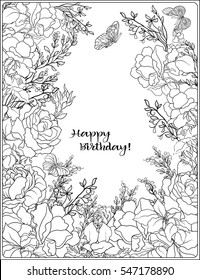The composition of bouquet of roses and butterflies. Outline hand drawing coloring page for adult coloring book with place for text.
