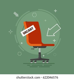 Composition with brown office chair and sign vacant. Business hiring and recruiting concept. 3d Flat vector illustration.