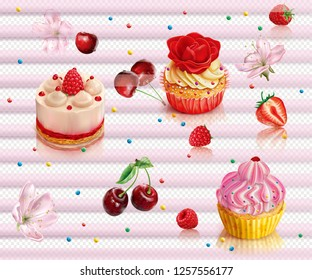 Composition with capcake and berry on a transparent background. Vector mesh illustration