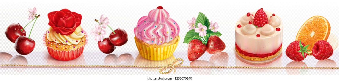 Composition with capcakes and fruits on a transparent background places in a line. Vector mesh illustration