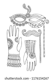 Composition with carneval props: mask, moustache and gloves. Photo booth Props. Hand drawn picture. Vector illustration for adult coloring page.