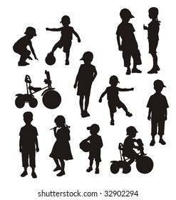 Composition from children's silhouettes. On a white background silhouettes of boys and girls are located. One boy sits on a bicycle.