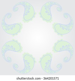 Composition of  circular oriental pattern, doodles, spirals, waves, spots, hole. Hand drawn.