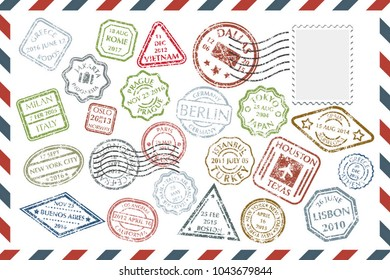 Composition with collection of colorful grungy stamps with text and postmarks on rectangular postal envelope. Postal Stamps set in different shapes and colors with name of city. Vector illustration