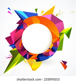 Composition of colorful round frame and geometric design elements.