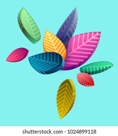 Composition of colorful stylized leaves
