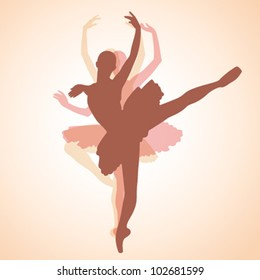 composition from the contours of dancing ballet-dancer on a beige background