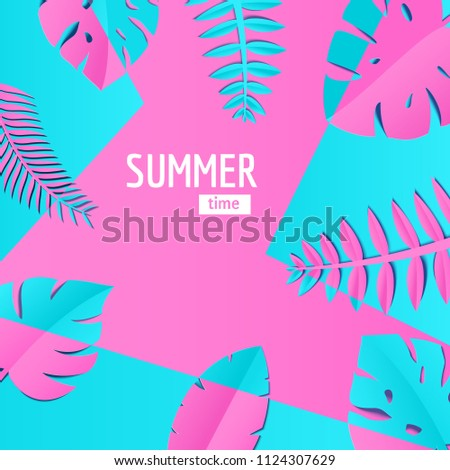composition creative pink blue jungle leaves stock vector royalty