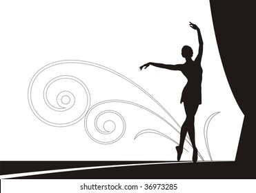 Composition with the dancing ballerina. She dances on a theatre scene. On a distance shot the ornament from spirals is located.