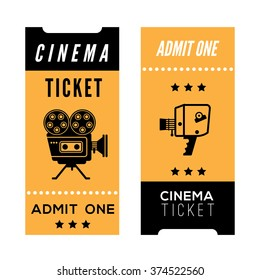 Composition with decorative cinema tickets. Cinema related illustration for web, flyers, print design.