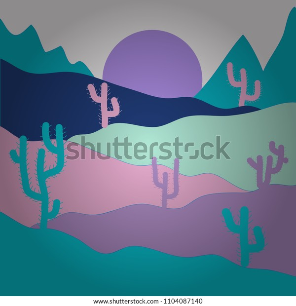 Composition. Deserts and Sand Dunes Landscape. Vector illustration. Background with cactus in neutral, blue and violet colors.