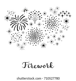 Composition of doodle fireworks with lettering isolated on white background.